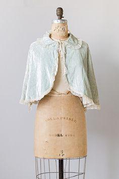 vintage 1940s pale blue crushed velvet cape