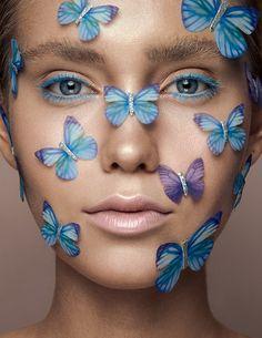 Roosa Bäck shot by Juho Lehtonen / Studio / / Creative beauty for Volant Magazine Butterfly Kisses, Beauty Editorial, Beauty Photography, Beauty Makeup, Magazine, Studio, Creative, Face, Magazines