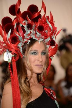 Always one to take a risk, actress Sarah Jessica Parker rocked a Chinese opera headpiece and seafoam eyeshadow.