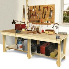 Learn how to build a workbench with this easy design. These workbench plans can be used by any handy person to create a sturdy work table. Adding a sink makes a practical garden potting bench. Building a workbench was never so simple! Since my workbench Plywood Furniture, Furniture Projects, Furniture Plans, Home Projects, Diy Furniture, Simple Workbench Plans, Diy Workbench, Industrial Workbench, Building A Workbench
