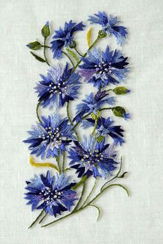 Embroidery Flowers Blue