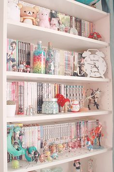 Dream Rooms For Girls Book Shelves - Decoration Home Cute Room Ideas, Cute Room Decor, Pastel Room Decor, Pastel Bedroom, Army Room Decor, Kawaii Bedroom, Gaming Room Setup, Gaming Chair, Gamer Room