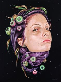 """Her Universe"" by Edith Lebeau, acrylic on wood, #surreal portrait painting, 2014. edithlebeau.com"