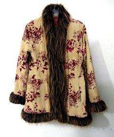 Faux Fur Trim Floral Print Coat