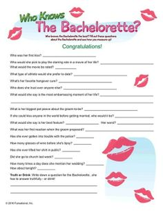 Bachelorette party game- some of these questions would need to be changed though