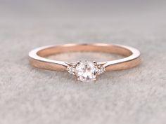 5mm Round Cut Morganite Engagement Ring Diamond Wedding Ring 14k Rose Gold Three Stone Design