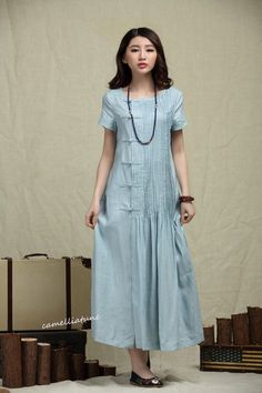 Maxi Bridesmaid Dress in Pale Blue, Long Linen Dress, Pleated Sundress, Evening Dress - Custom Plus Size Dress A8028 by camelliatune on Etsy