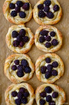 Skip the bakery case and DIY with a fast and fresh recipe for Blackberry Cream Cheese Pastries. Warm puff pastry roses filled with vanilla cream cheese and juicy blackberries. Brunch Recipes, Gourmet Recipes, Cooking Recipes, Quick Recipes, Cooking Ideas, Delicious Recipes, Cream Cheese Pastry, Puff Pastry Recipes, Pastries Recipes