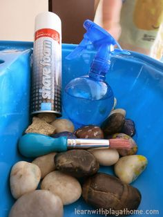 Learn with Play at Home: Clean the Rocks. Toddler Sensory Play