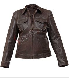 Women's Brown With Two-Pocket Leather Jacket. #Fashion #Jacket #outfit #Women #Menswear #Coat #Kids leatherjacket - For more queries visit: Slimfitjackets.com