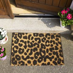 Buy the Leopard Door Mat - Black from Artsy Doormats at AMARA. Indoor Door Mats, Indoor Doors, Front Door Mats, Front Door Decor, Front Porch, Animal Print Decor, Animal Prints, Cool Doormats, Dining Table Chairs