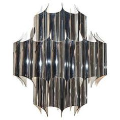 Fabulous Vintage Chrome and Plated Steel Chandelier by Robert Sonneman