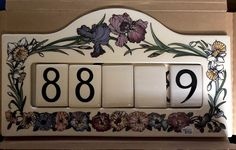 This is a beautiful piece,the tile numbers move whoever you want them or can add others,Retails made in chips or cracks,any questions please email,Thanks for looking! Ceramic Design, Santa Barbara, Pottery Art, Numbers, Tile, Chips, Thankful, Ceramics, Canning