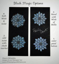 Stampin' Up! Flourishing Phrases Black Magic with a Wink & a Twist card options by Dawn Olchefske #dostamping