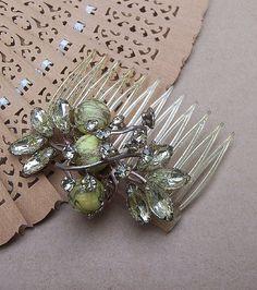 Vintage hair comb hinged pale green rhinestone by ElrondsEmporium, $25.00