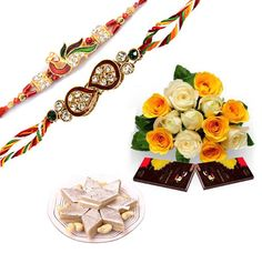 Premium Rakhi Combo : Send this premium Rakhi Combo to your sweetest brother in India and celebrate this Raksha Bandhan. This combo includes 2 fancy rakhis along with flowers bunch, chocolates ans sweets. Visit & order online from http://www.indiangiftscenter.com/rakhsha_bandhan.html