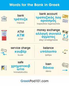 Greek Phrases, Greek Words, Learn Greek, Atm, Greek Alphabet, Greek Language, Greece Travel, Twitter Sign Up, Education