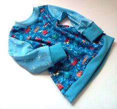 Langarmshirt Meerestiere / Größe 68 Straight Cut, Kind Mode, Cute Shirts, Shades Of Blue, Long Sleeve Shirts, Rompers, Cotton, Etsy, Fashion