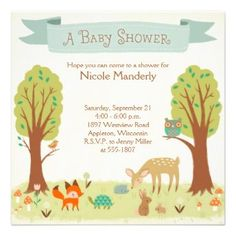 Whimsical Woodland Personalized Baby Shower Invitation Cards illustrated with cute animals and flowers of the forest.