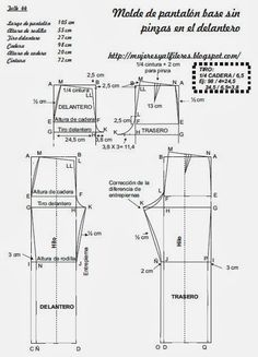 Mujeres y alfileres: Molde base de pantalón sin pinza en el delantero