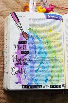 Jeremiah 32:17, January 31, 2017, carol@belleauway.com, Brusho watercolor crystals, page prepped with Liquitex Matte Gel medium, Illustrated Faith pen, Faber Castell Pitt artist brush pens, alphabet stickers, bible art journaling, bible journaling, illustrated faith