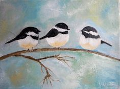 Oil Impasto Painting by Tammy Allman! Kenzies Cottage on Etsy!https://www.etsy.com/listing/178207880/oil-painting-chickadee-bird-painting?ref=shop_home_active_6