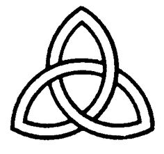 Triquerta  A three pronged knot which symbolizes the Celtic philosophy that everything has 3 distinct yet interlocked levels - physical, mental, and spiritual.