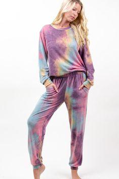 Cozy Tie Dye Joggers in Purple/Jade Grace And Co, Tie Dye Sweatshirt, Contemporary Fashion, French Terry, Love Fashion, Elastic Waist, Jade, Joggers, Cozy