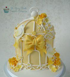 Lemon Wedding Birdcage Cake