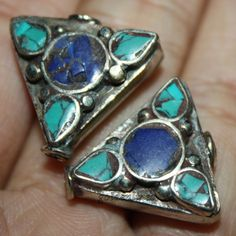 Nepal Tibetan Lapis Turquoise Beads 2 beads by goldenlines on Etsy
