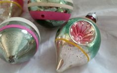 Vintage Christmas Ornaments Glass Mica Indent and Shiny Brites Lot of 4 1940s | eBay