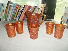 VINTAGE IMPERIAL MARIGOLD CARNIVAL GLASS LUSTRE OPEN ROSE PITCHER & 5 TUMBLERS