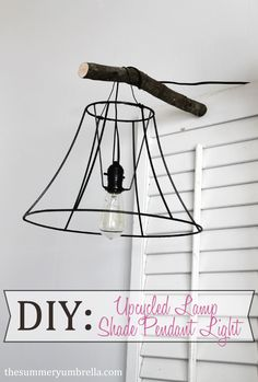 Turn an old lamp shade into a bedside pendant light. It won't even take long!