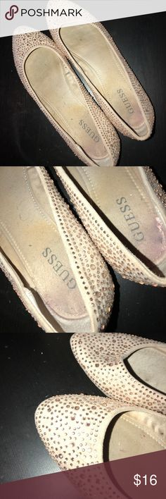 Women's Guess jeweled flats Pointy toe- jeweled- pink color- rarely worn- size 8.5 Guess Shoes Flats & Loafers
