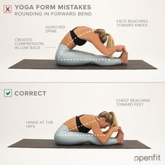 Even seasoned yogis have made the same yoga form mistakes you see on this list. Let's look at some of the most common examples — and some tips on how to fix them from Openfit's yogis. Yoga For Kids, Kid Yoga, Yoga Gym, Tight Hamstrings, Yoga Music, Core Muscles, Yoga Poses For Beginners, Yoga Teacher Training, Yoga Tips