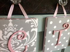 8x10 Nursery Letter, upholstered letter plaque, gray and pink nursery decor on Etsy, $21.99