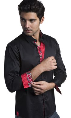 https://www.cityblis.com/9503/item/15791  Vassari Men's Solid Button Down With Contrasting Accents - $108 by BARABAS  Vassari Men's Solid Button Down With Contrast Design Lining Collar, Cuffs and Placket  Accent Red Stitching Regular Fit 100% Cotton Medium Machine Wash Imported  Item model number: B1326-BLK