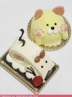 Todays cake of the day was given to us by jeanette and is these two really cute animal cakes! As you can see ones a cat and ones a mouse, the perfect pair! Don't they look really yummy too? I love how the whiskers are chocolate on the mouse! What do you think of these cakes? Which one do you like most?