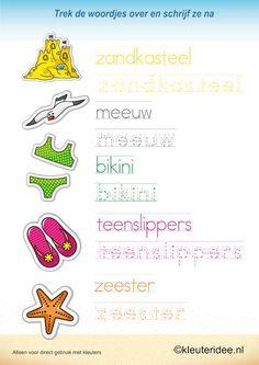 Trek de woordjes over en schrijf ze na 2 , kleuteridee.nl , taal voor kleuters, thema zomer , free printable.
