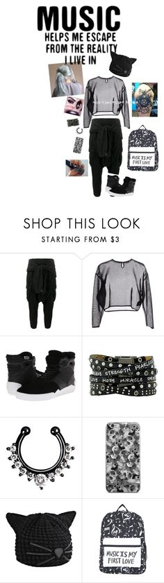 """Music helps me escape from the reality I live in."" by sjcountrygirl-sj ❤ liked on Polyvore featuring Faith Connexion, Yves Saint Laurent, Supra, Karl Lagerfeld and Hot Topic"