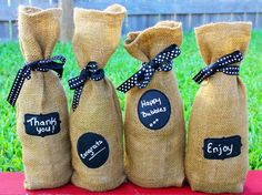 Or when someone gave the gift of wine in a totally customizable bag! | 26 Beautiful Ways To Use Chalkboard Paint