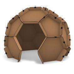 Mobili in cartone: sfera geodetica in cartone per allestimento stand, allestimento eventi, arredamento e allestimento show-room.