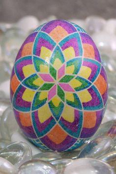 Pysanky Egg  Multi Color Rose  by EggsbyKathy