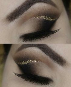Amazing eye makeup looks, gold glitter crease. by dee #GlitterMakeup