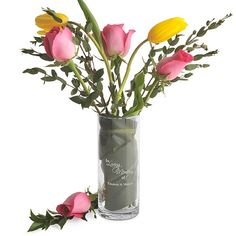 This 7 x 2 personalized 'In Loving Memory' 20 ounce glass memorial vase will keep the memory of your lost loved ones close to you during your wedding ceremony and wedding reception or any special occasion.  Fill this elegant glass cylinder vase with flowers to match your wedding or with the favorite flowers of your loved ones for a sweet reminder of their spiritual presence.