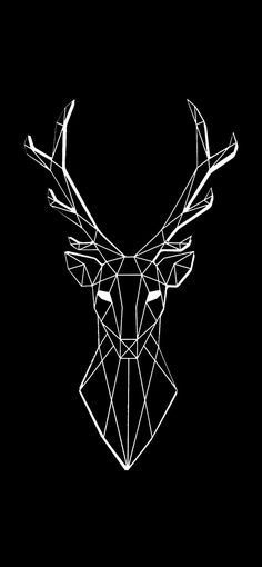 Black and White Deer Wallpaper - Black and white wallpapers - Hirsch Wallpaper, Cool Wallpaper, Mobile Wallpaper, Iphone Wallpaper, Geometric Deer Wallpaper, Full Black Wallpaper, New Backgrounds, Diy Phone Case, Cute Wallpapers
