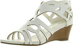 Diviana Nicki 18 Womens Cut Out Back Zip Wedge Sandals