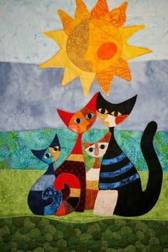 Rosina Wachtmeister – I love her cat paintings! This would be COOL done in FABRI… Rosina Wachtmeister – I love her cat paintings! This would be COOL done in FABRIC collage style! Quilt Modernen, Cat Quilt, Animal Quilts, Cat Crafts, Cat Pattern, Mini Quilts, Applique Quilts, Fabric Art, Fabric Painting
