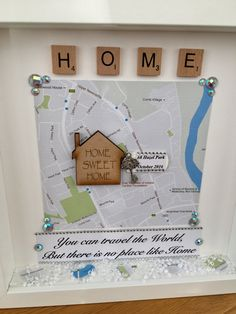 New Home Frame - Perfect gift for any occasion.  Please add the new home address so I can access the map, then add whatever details you would like on the note with the key in the notes to seller section, after adding item to cart. The quote on the bottom can be customised to whatever you would like. Crystals for the bottom are optional also.  I recommend ordering your frame at least ten days before it is required, this will allow time for the item to be made and then posted. If you require…