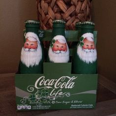 green six pack Coca Cola Coke Santa bottles with by mypaintinplace